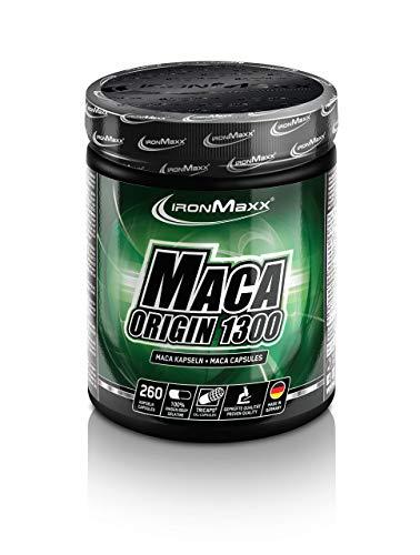 IronMaxx Maca Origin 1300 Maca Kapseln unterstützen Muskelaufbau & Muskelwachstum mit Proteinen, BCAA\'s & L-Arginin - 1 x 260 Kapseln