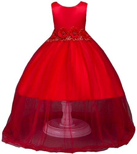 AGOGO Mädchen Blumenmädchenkleid, Kinder Lace Hochzeitskleid Tüll Festkleid Abendkleid Asymmetrisch Partykleid Vorne Kurz Hinten Lang Gr.104 116 128 140 152 (104, Rot)