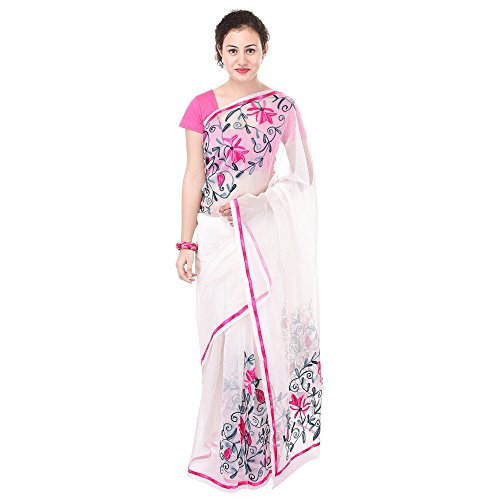 Luvit Women's Aari Work Pure Kota Supernet Cotton Saree With Blouse (White)
