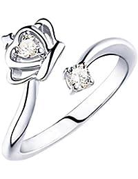 YAZILIND platino plateado anillo abierto ajustable anillo de la corona de la boda de las mujeres incrustado con zirconia cúbico