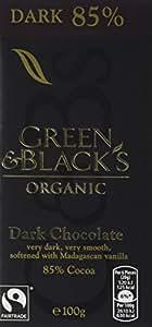 Green & Black's Organic 85% Dark Chocolate Bar, 100g (Pack of 15)