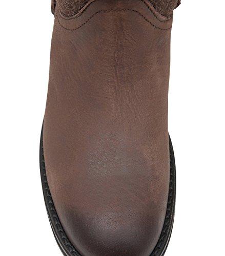 NOBRAND Chaussures hautes Femme Chaussures à lacets Chaussures-Cuir-Marron Marron