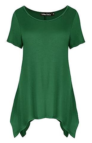 Damen Kurz Ärmel Lose Langshirt T-Shirt sidetale Tunika Tops Bluse (M, Dunkelgrün)