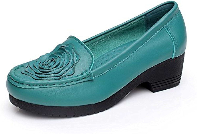 Zapatos de las señoras/Cabeza redonda antideslizante suave cuero zapatos casual