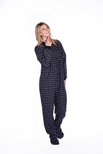 Big Feet Pyjama schwarz Plaid (Tartan) Erwachsene-Beiner Schlafanzug W/bum-flap (102) Gr. X-Large, Black Plaid (Flanell Tartan Plaid)
