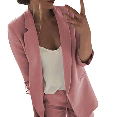 - Knopf-front Blazer Jacke (Madmoon Damen Blazer Jacke Herbst Winter Bequem Lässig Mode Jacke Frauen Mode Frauen Knopf Mantel Frauen Langarm Blazer Open Front Short Cardigan Anzug Jacke Arbeit Büro Mantel)