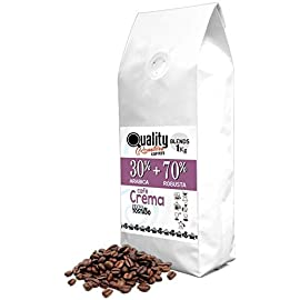 "☕ Natural Coffee Beans. ""Café Crema"". 30% Arabica + 70% Robusta. Blend. 1kg. Handmade Roast."