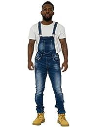 Salopette Homme - Slim Fit détail à l'abrasion jean denim de mode GARY