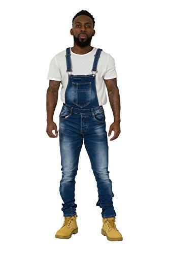 Herren Latzhose Stonewash - Slim Fit Overalls für Männer Abnutzungseffekt GARY-32W (Fit Stonewash Slim Jeans)