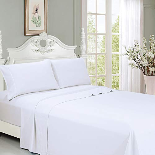 LEXINGTON Bettwäsche-Set für Queen-Size-Betten - sehr weiche, gebürstete Mikrofaser, 45,7 cm Tiefe Tasche, 6 Stück, 1 Spannbettlaken, 1 Flach, 4 Kissenbezüge (Silver Queen) Queen weiß -