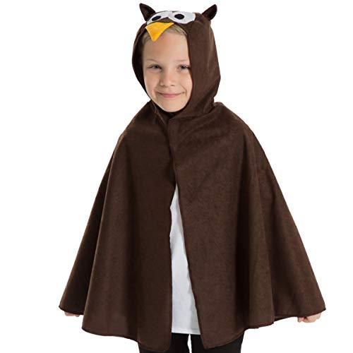Kinder Eule Kostüm - Unbekannt Charlie Crow Eule umhang Kostüm für Kinder - Einheitsgröße 3-8 Jahre.