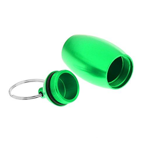 MagiDeal Camping Pillendose wasserdicht Pillenbox Tablettendose mit Schlüsselring aus Aluminiumlegierung - Grün (Indoor Storage Box)