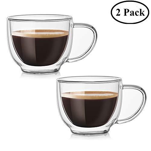 Doppelwandige Gläser Kaffeetasse Cappuccinotasse mit Griff wärmeisoliertes Borosilikatglas...