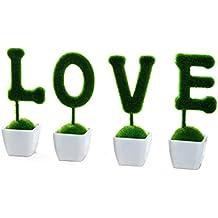CUHAWUDBA 4 Piezas de Flores Artificiales en macetas Pino emula Bonsai de Simulacion Decorativa Plantas de