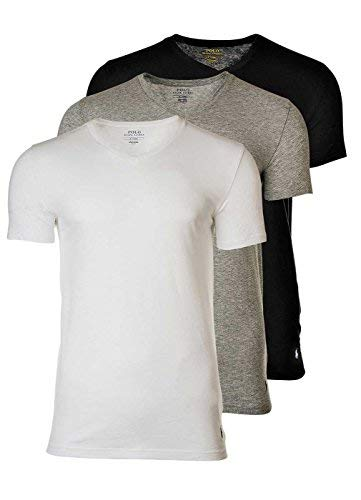 Polo Ralph Lauren 3 Pack Camisetas Hombre, Cuello V, Media Manga - Blanco  1beed1c6a539