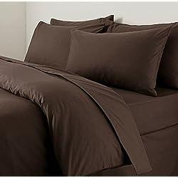 Roy Textile Ltd Uni Housse de Couette avec taies d'oreiller Assorties Parure de lit de Chambre à Coucher (Chocolat, Super King Size)