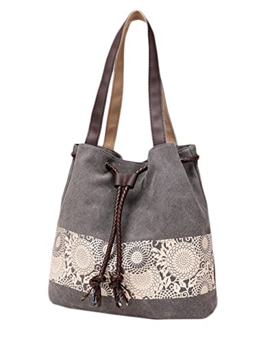 Scothen Large Beach Bag/Shopper Bag Tasche Strandtasche Böhmische Ethnische Lässig Handtaschen Damen Strandtasche Handbag Satchels Shoulder Bag Umhängetaschen klassisch Segeltuchtasche canvas bag Grau