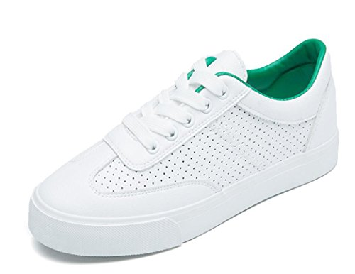 SHFANG Dame Schuhe Retro Kleine weiße Schuhe Flat Bottom Freizeit Bewegung Komfortable Studenten Schule Daily White Green Green