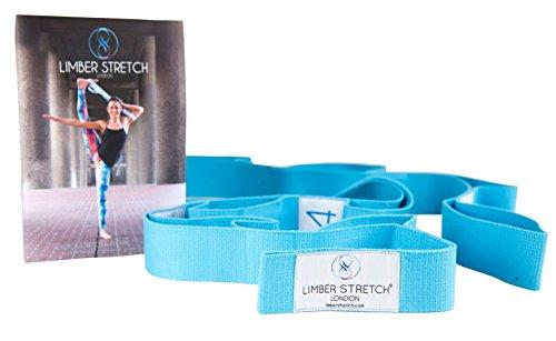 Limber Stretch Flexibility Stretch Strap mit Schlaufen für Training und Heilung. Yoga Strap und Fitnessband. Anleitungsposter und Stretching eBook KOSTENLOS dazu