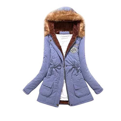 Mit Kapuze Mittlerer und Langer Abschnitt Damen Baumwollmantel Baumwollkleidung Womens Warm Long Coat Pelzkragen Kapuzenjacke Schlank Winter Parka Outwear Mäntel- Mantel Winterparka(Blau,M)
