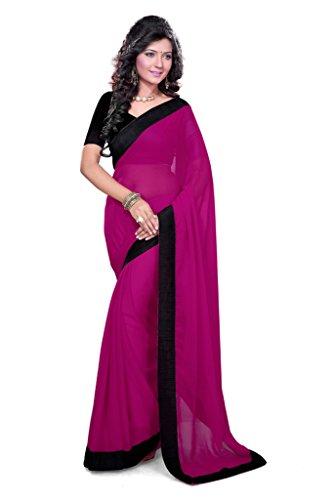 Damen Designer Sari mit Ungesteckt Oberteil/Top Mirchi Fashion Gedruckte (Woman Roten Pretty Kostüm Kleid)