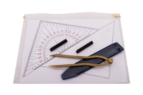 Navigationsbesteck - Navigationsset - Marinezirkel + 2 Dreiecke +Tasche