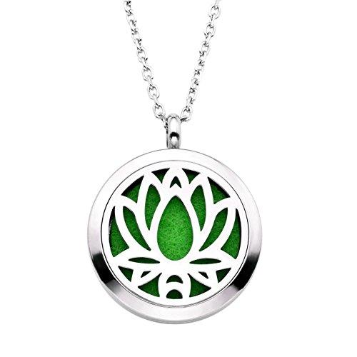 Zysta Pendentif Collier Acier Lotus Aromatique Diffuseur de Parfum Huile Essentielle