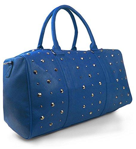 Lovely Lauri Damen Tasche Weekender Nieten Shopper XXL Reisetasche Blau Blau