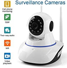 V.T.I IP Dual Antenna WiFi Enabled Indoor Security Camera with Night Vision, 720P Resolution, Rotatable Video Remote Control View Via Smart Phone for Security Home Office