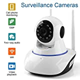 #8: V.T.I. IP Dual Antenna WiFi Enabled Indoor Security Camera with Night Vision, 720P Resolution, Rotatable Video Remote Control View Via Smart Phone for Security Home Office