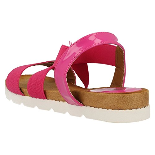 Ladies Down To Earth Sandales plates F10323 élastique Rose - Fuchsia