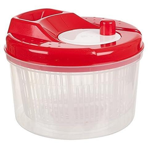 Salad Spinner Vegetable Dryer Colander Plastic Bowl (Red )