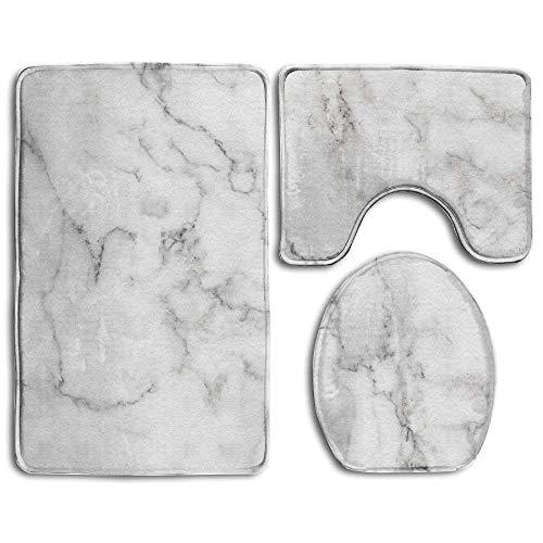 Natur Weiß Marmor Textur für Hintergrund oder Haut Tile Wand Luxuriöser Bild hoch Auflösung Badezimmer Teppich 3-teiliges Badematten-Set Contour Teppich und Deckel - Natur-badezimmer-teppich