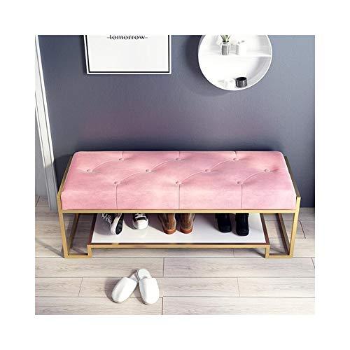 Leiter Montiert Stuhl Rack (STAR-LIFE Nordic Entryway Shoe Rack Flur Schuhbank Home Storage Schuhschrank Iron Art Storage Bench (Color : Pink, Size : 120cm))