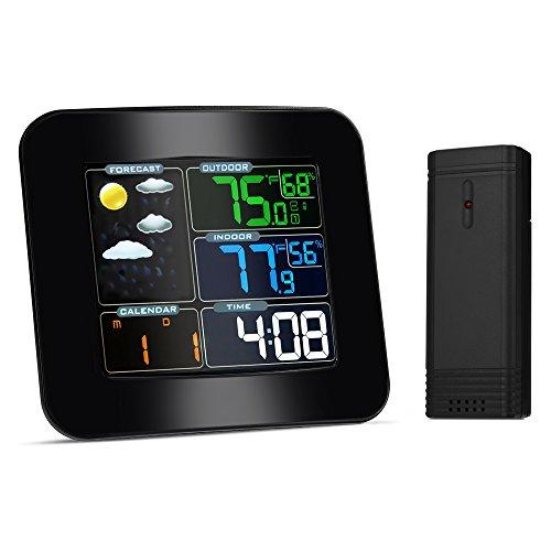 iLifeSmart Funkwetterstation mit LCD Farbdisplay, TS-75 Wetterstation inkl. Außensensor, DCF-Empfangssignal, Innen- und Außentemperatur und Hygrometer, Wettervorhersage Piktogramm, Tendenzanzeige (Von Kratzer Entfernen Cd Sie)