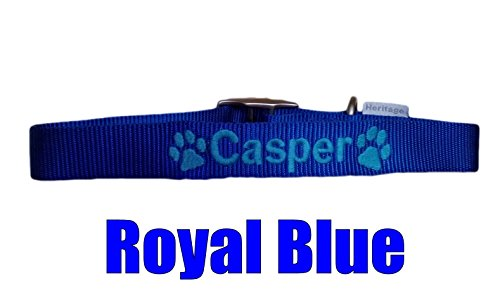 Personalised Strong Nylon Dog Collars Pink Blue Red Black FREE Embroidered Personalisation. ID Collar. (20 Inch (L)) 4