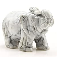 """Baixiyan Hand Carved Healing Gemstone Crystals 1.6"""" Guardian Elephant Figurines Status (White Turquoise)"""