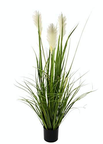 ras im Topf, Kunst-Pflanze, Künstliches-Gras, Polyester, Kunststoff, weiß, 120 cm hoch, 36 cm breit ()
