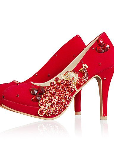 ShangYi Chaussures Femme - Mariage - Rouge - Talon Cône - Bout Arrondi - Talons - Similicuir 3in
