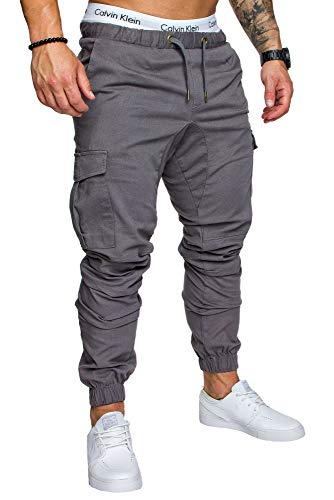 REPUBLIX Herren Cargo Jogger Chino Hose Pants Mit Stretch R0701 Dunkelgrau W30