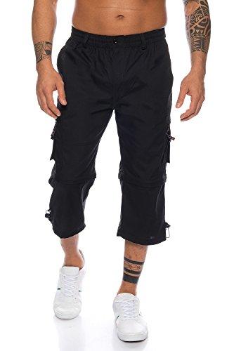 LMC Herren 3/4 Cargo Shorts mit Dehnbund - mehrere Farben ID572, Größe:M, Farbe:Schwarz