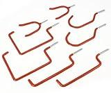 Toolzone - Juego de ganchos (8 unidades), formas variadas, color rojo