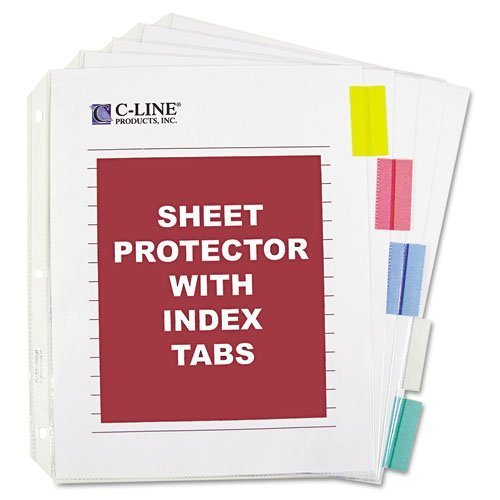 C-Line : Sheet Protectors with 5 Colored Index Tabs & Inserts, Heavy Gauge, Letter -:- Sold as 2 Packs of - 5 - / - Total of 10 Each by C-Line -