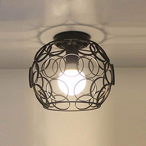 FGHOME Simple Plafonnier Luminaire Bar Comptoir Couloir Allées Hall d'entrée Balcon Rangement du cabinet Étude Chambre Lumières Fer Art Lampe Entrepôt Sphérique (C)