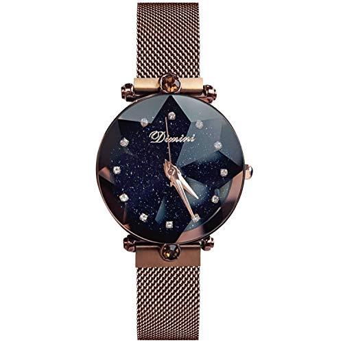 079231d96a87 RORIOS Fashion Mujer Women Relojes de Pulsera Cielo Estrellado Magnética  Mesh Band Diamante Simulado Dial