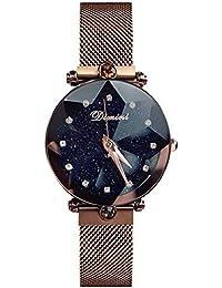 RORIOS Fashion Mujer/Women Relojes de Pulsera Cielo Estrellado Magnética Mesh Band Diamante Simulado Dial