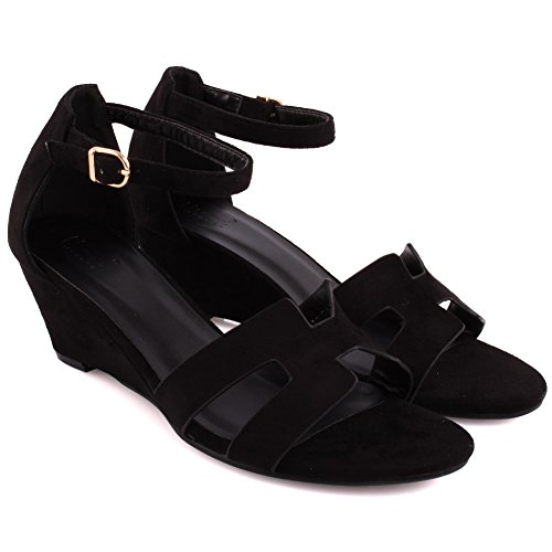 Unze Neue Frauen Musker 'Open Wedge Sandalen Sommer Strand Schule Karneval Casual Schuhe UK Größe 3-8 - 15C01070-9 Schwarz