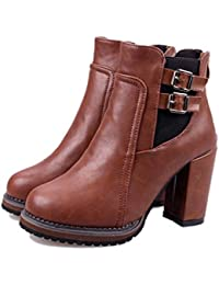 Mujeres Classic Short Boot Cono Heel Plataforma Tobillo Boot Caliente Chelsea Botas Invierno Boot ( Color : Brown , Size : 39 )