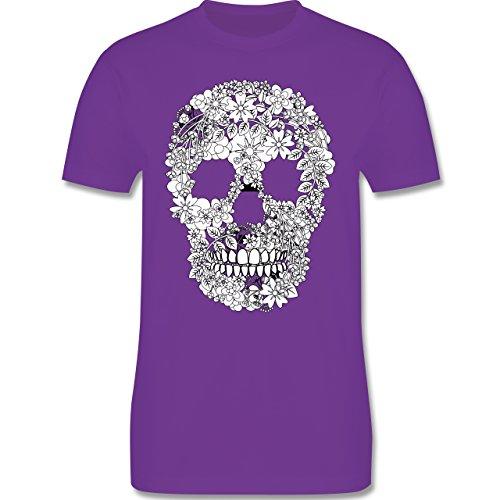Rockabilly - Totenkopf Blumen Skull Flowers - Herren Premium T-Shirt Lila