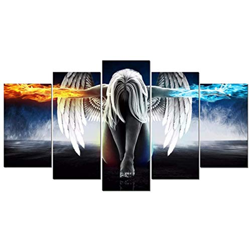 BulundFan Volle roundDiamond 5D DIY Diamant-Malerei 5pcs Engel mit Flügeln Stickerei Kreuzstich Strass Mosaic Painting Decor, 40x60cm 40x80cm 40x100cm (Engel Diy Flügel)